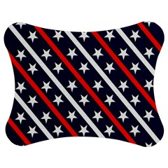 Patriotic Red White Blue Stars Jigsaw Puzzle Photo Stand (Bow)