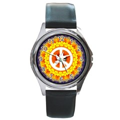 Peace Art Artwork Love Dove Round Metal Watch