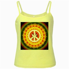 Peace Art Artwork Love Dove Yellow Spaghetti Tank
