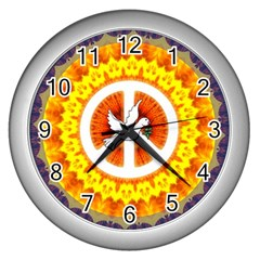 Peace Art Artwork Love Dove Wall Clocks (Silver)