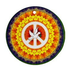Peace Art Artwork Love Dove Round Ornament (Two Sides)