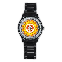Peace Art Artwork Love Dove Stainless Steel Round Watch