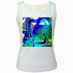 Security Castle Sure Padlock Women s White Tank Top