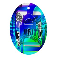 Security Castle Sure Padlock Oval Ornament (Two Sides)