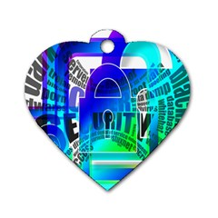Security Castle Sure Padlock Dog Tag Heart (one Side)