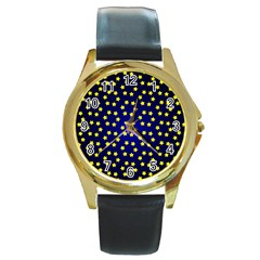 Star Christmas Yellow Round Gold Metal Watch