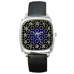 Star Christmas Yellow Square Metal Watch