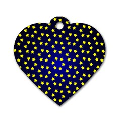 Star Christmas Yellow Dog Tag Heart (two Sides)