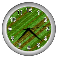Stripes Course Texture Background Wall Clocks (Silver)