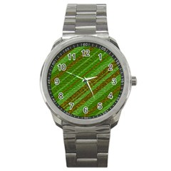Stripes Course Texture Background Sport Metal Watch