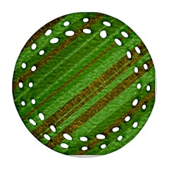Stripes Course Texture Background Round Filigree Ornament (Two Sides)