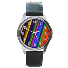 Strip Colorful Pipes Books Color Round Metal Watch