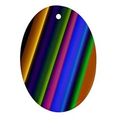 Strip Colorful Pipes Books Color Ornament (Oval)
