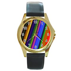Strip Colorful Pipes Books Color Round Gold Metal Watch