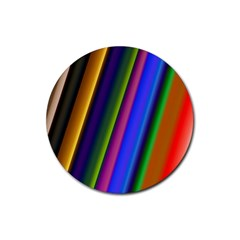 Strip Colorful Pipes Books Color Rubber Round Coaster (4 pack)