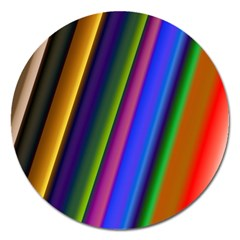 Strip Colorful Pipes Books Color Magnet 5  (Round)