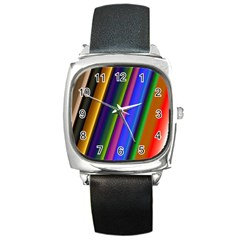 Strip Colorful Pipes Books Color Square Metal Watch