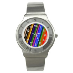 Strip Colorful Pipes Books Color Stainless Steel Watch
