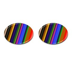 Strip Colorful Pipes Books Color Cufflinks (Oval)