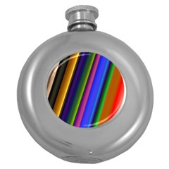 Strip Colorful Pipes Books Color Round Hip Flask (5 oz)