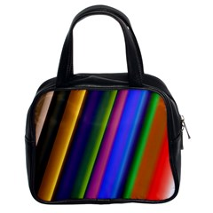 Strip Colorful Pipes Books Color Classic Handbags (2 Sides)