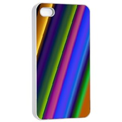 Strip Colorful Pipes Books Color Apple iPhone 4/4s Seamless Case (White)