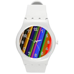 Strip Colorful Pipes Books Color Round Plastic Sport Watch (m)