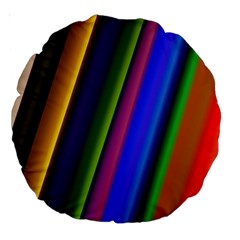 Strip Colorful Pipes Books Color Large 18  Premium Round Cushions