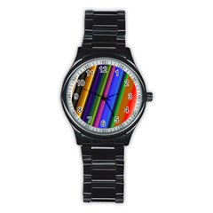 Strip Colorful Pipes Books Color Stainless Steel Round Watch