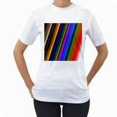 Strip Colorful Pipes Books Color Women s T Shirt (white)
