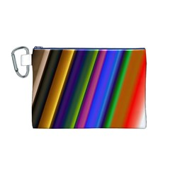 Strip Colorful Pipes Books Color Canvas Cosmetic Bag (m)