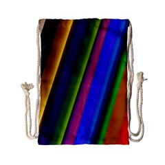 Strip Colorful Pipes Books Color Drawstring Bag (Small)