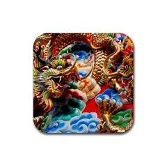 Thailand Bangkok Temple Roof Asia Rubber Square Coaster (4 Pack)
