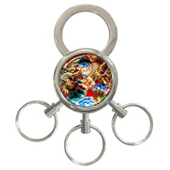 Thailand Bangkok Temple Roof Asia 3-Ring Key Chains