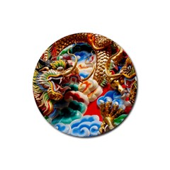 Thailand Bangkok Temple Roof Asia Rubber Round Coaster (4 pack)