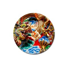 Thailand Bangkok Temple Roof Asia Magnet 3  (Round)
