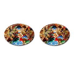 Thailand Bangkok Temple Roof Asia Cufflinks (Oval)