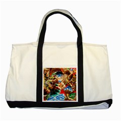 Thailand Bangkok Temple Roof Asia Two Tone Tote Bag