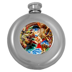 Thailand Bangkok Temple Roof Asia Round Hip Flask (5 oz)