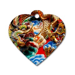 Thailand Bangkok Temple Roof Asia Dog Tag Heart (one Side)