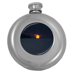 Sunset Ocean Azores Portugal Sol Round Hip Flask (5 oz)