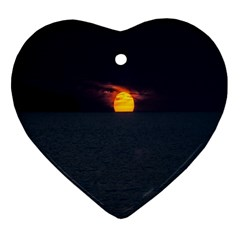 Sunset Ocean Azores Portugal Sol Heart Ornament (Two Sides)