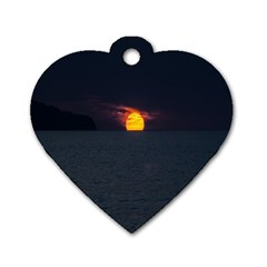 Sunset Ocean Azores Portugal Sol Dog Tag Heart (one Side)