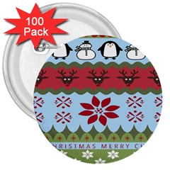 Ugly Christmas Xmas 3  Buttons (100 Pack)