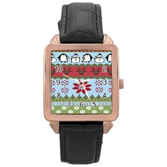 Ugly Christmas Xmas Rose Gold Leather Watch