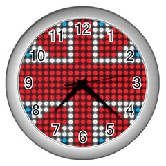 The Flag Of The Kingdom Of Great Britain Wall Clocks (Silver)