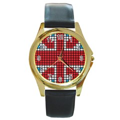 The Flag Of The Kingdom Of Great Britain Round Gold Metal Watch