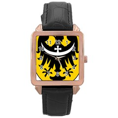Silesia Coat of Arms  Rose Gold Leather Watch