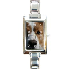 Red Border Collie Rectangle Italian Charm Watch