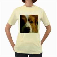Red Border Collie Women s Yellow T-Shirt